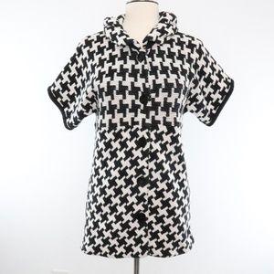 Style & Co Black White Herringbone Sweater Top